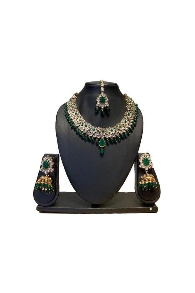 NLS19015 Elegant Green and Gold Kundan Necklace Set with Matching Earrings and Tikka