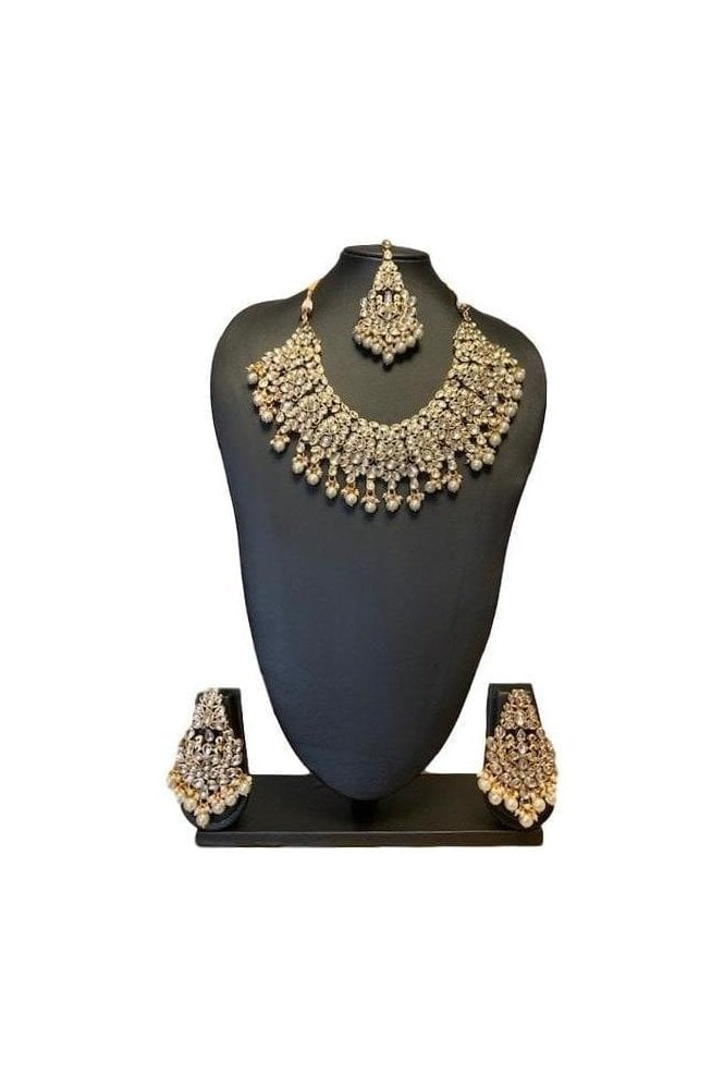 NLS19021 Timeless Pearl and Gold Kundan Bridal Wedding Necklace Set with Matching Earrings and Tikka
