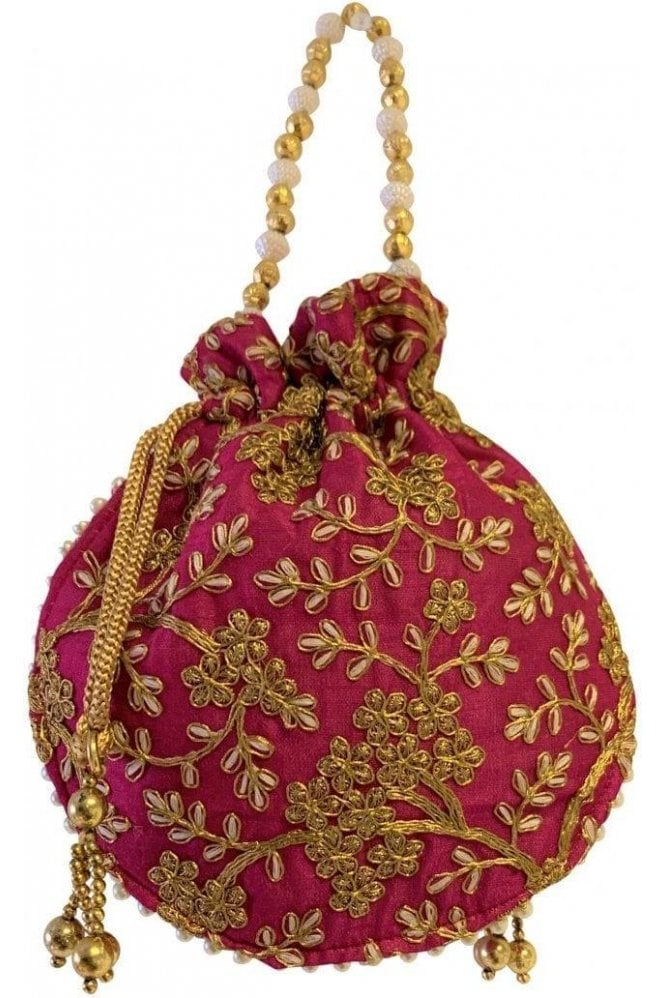 POT19009 Coral Pink and Gold Indian Potli Batwa Dolly Bag