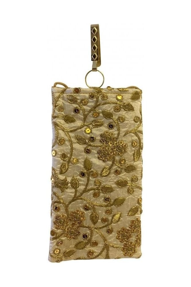 POT19024 Cream and Gold Indian Embroidered Mobile Clip & Cross Shoulder / Body String Bag