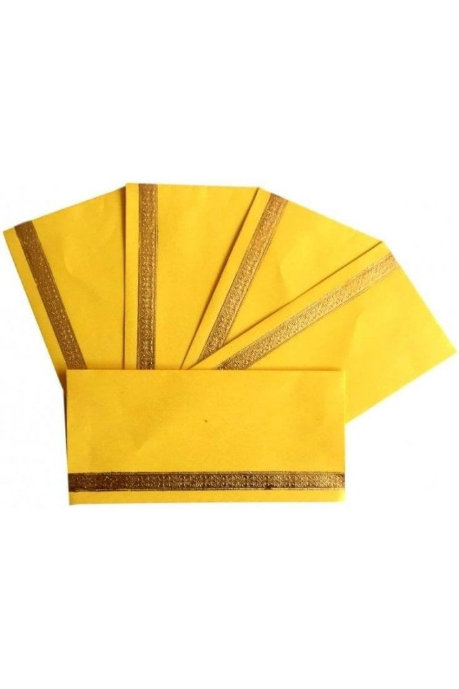 E19_YEL Pack of 5 Yellow and Gold Shagun Envelope Money Wallet