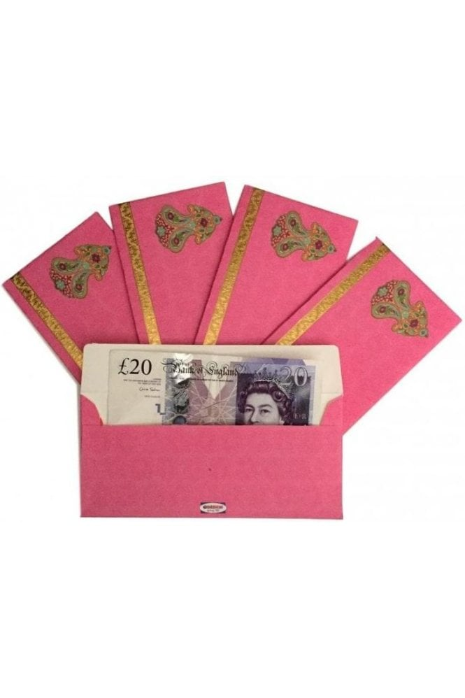 E37_PIN Pack of 5 Pink and Gold Shagun Envelope Money Wallet