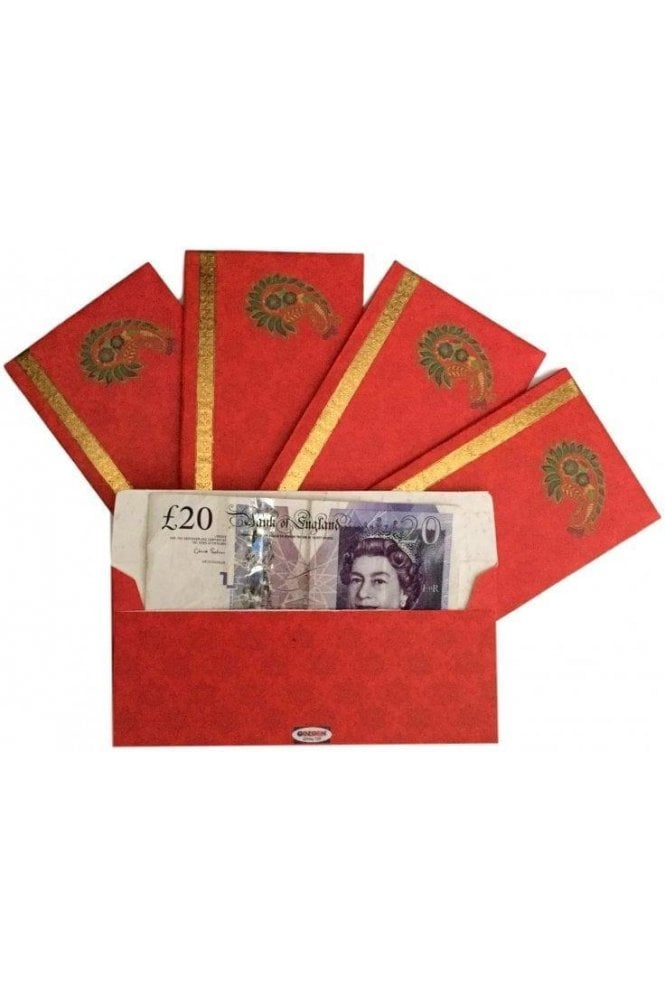 E37_RED Pack of 5 Red and Gold Shagun Envelope Money Wallet