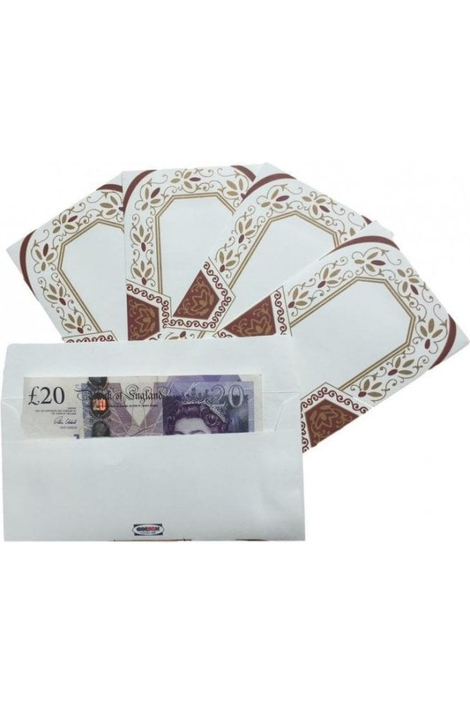 E100_MAR Pack of 5 Maroon and Ivory Shagun Envelope Money Wallet