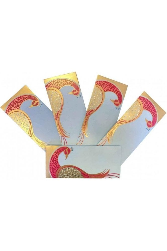 E150_BLU Pack of 5 Blue and Red Shagun Envelope Money Wallet