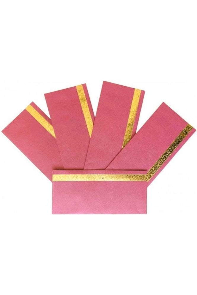 E181_DPI Pack of 5 Dark Pink and Gold Shagun Envelope Money Wallet