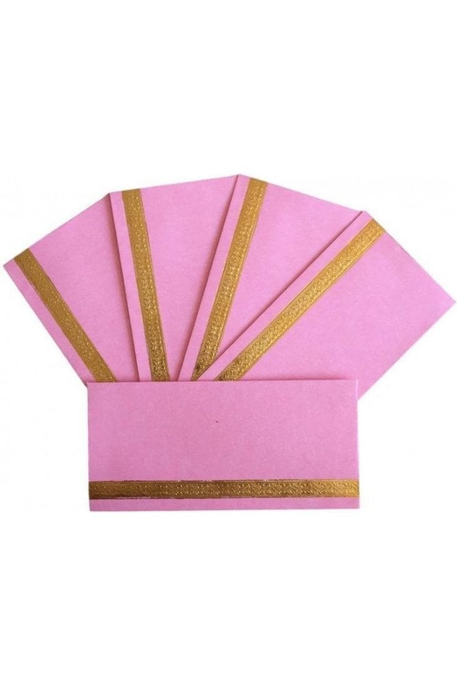 E19_LPI Pack of 5 Light Pink and Gold Shagun Envelope Money Wallet