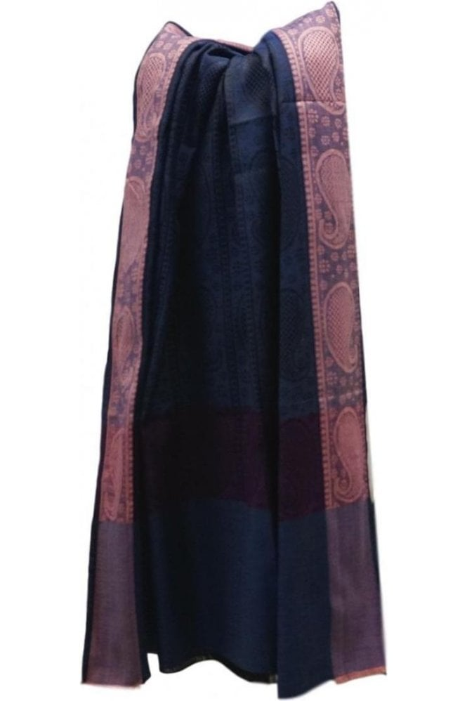 WSL19012 Navy Blue and Black Ethnic Indian Shawl Stole Scarf with Stunning Paisley Embroidery