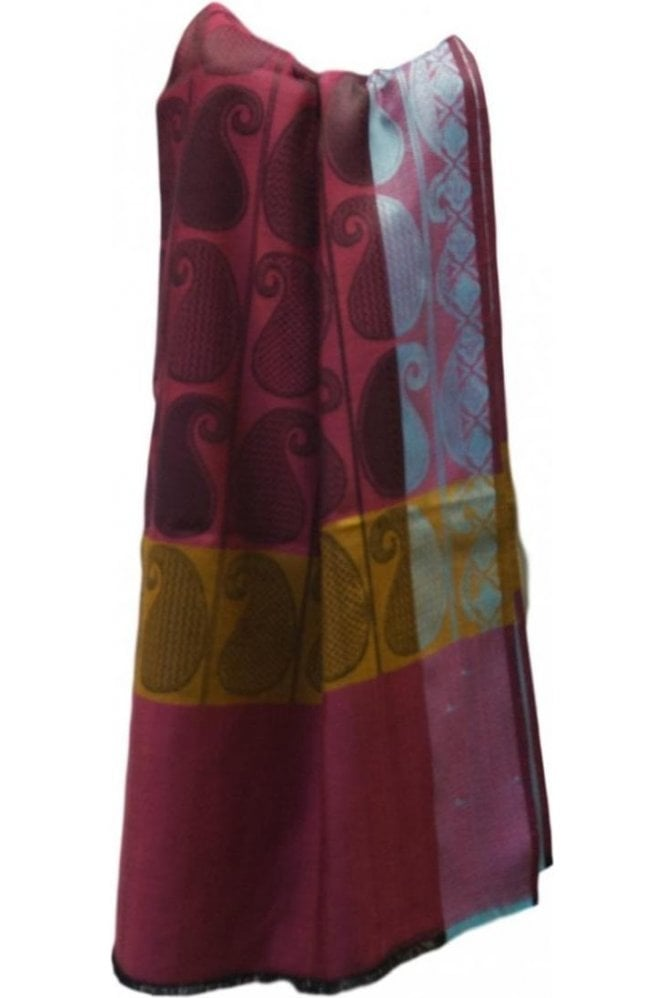 WSL19034 Pink and Mustard Ethnic Indian Shawl Stole Scarf with Lovely Paisley Embroidery