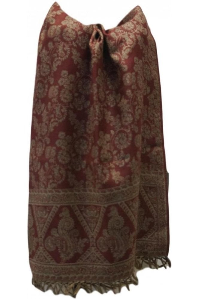 WSL19022 Maroon and Beige Ethnic Indian Shawl Stole Scarf with Classic Paisley Embroidery