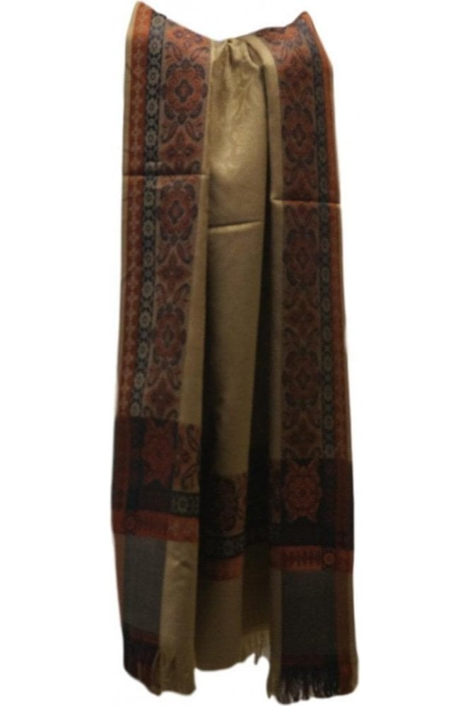WSL19029 Coffee Brown and Black Ethnic Indian Shawl Stole Scarf with Elegant Paisley Embroidery