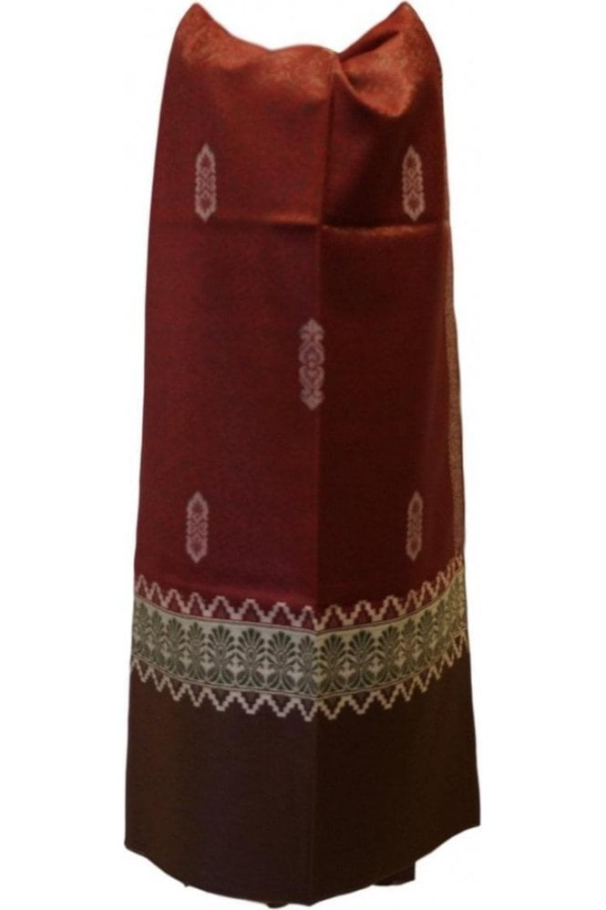 WSL19058 Maroon and Beige Ethnic Indian Shawl Stole Scarf with Classy Paisley Embroidery