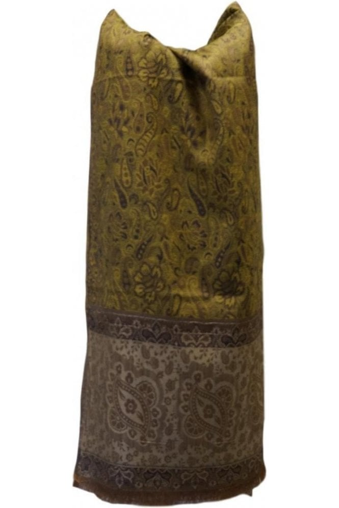 WSL19059 Yellow and Navy Blue Ethnic Indian Shawl Stole Scarf with Beautiful Paisley Embroidery