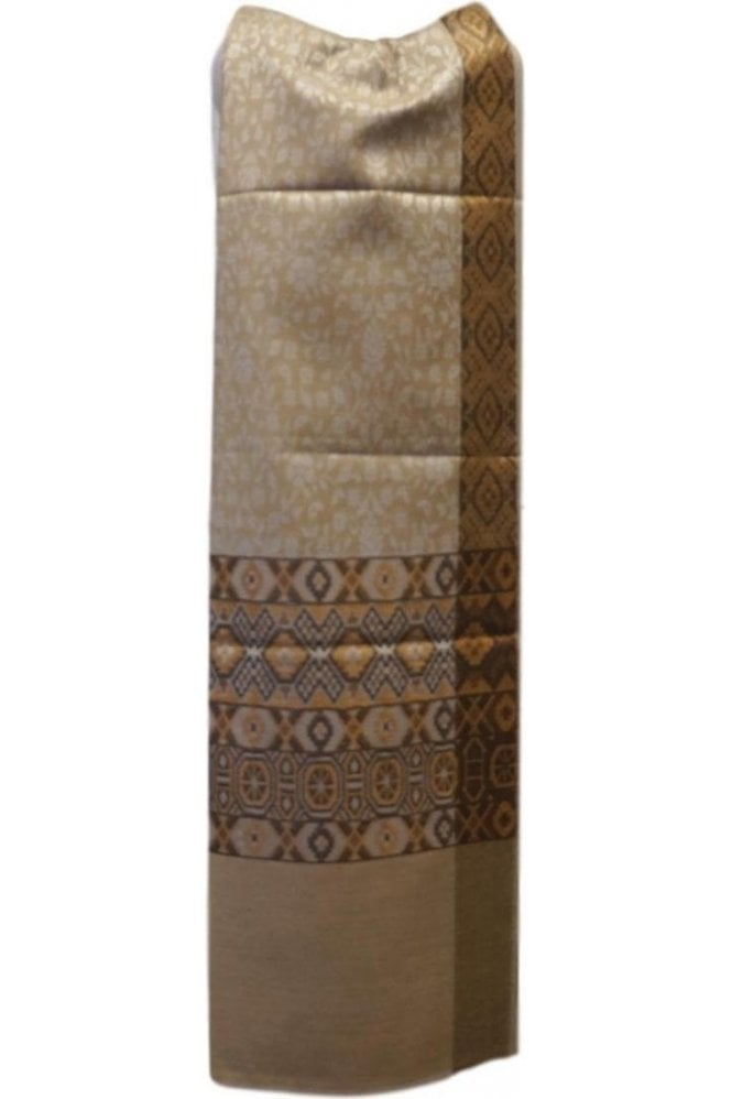 WSL19063 Beige and Coffee Brown Ethnic Indian Shawl Stole Scarf with Gorgeous Paisley Embroidery