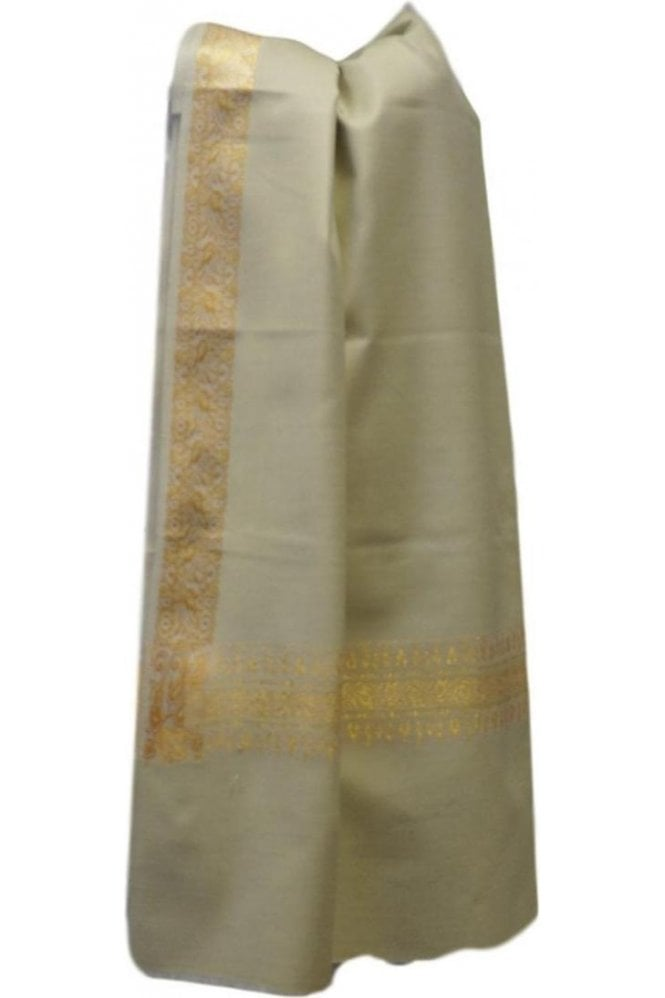 WSL19066 Ivory and Gold Ethnic Indian Shawl Stole Scarf with Classic Paisley Embroidery