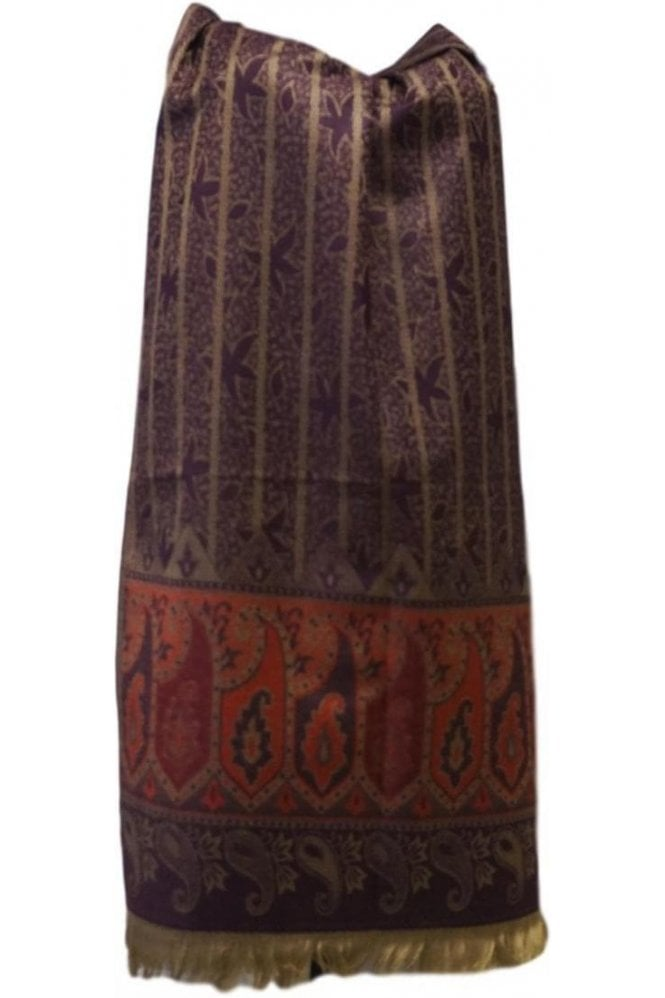 WSL19068 Purple and Red Ethnic Indian Shawl Stole Scarf with Beautiful Paisley Embroidery