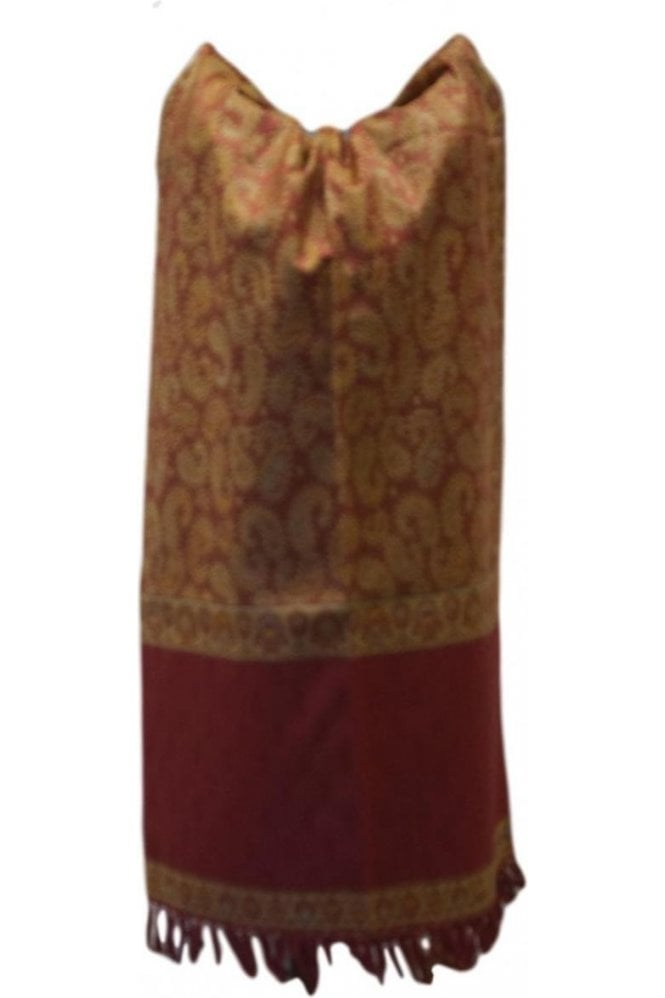 WSL19086 Red and Beige Ethnic Indian Shawl Stole Scarf with Lovely Paisley Embroidery