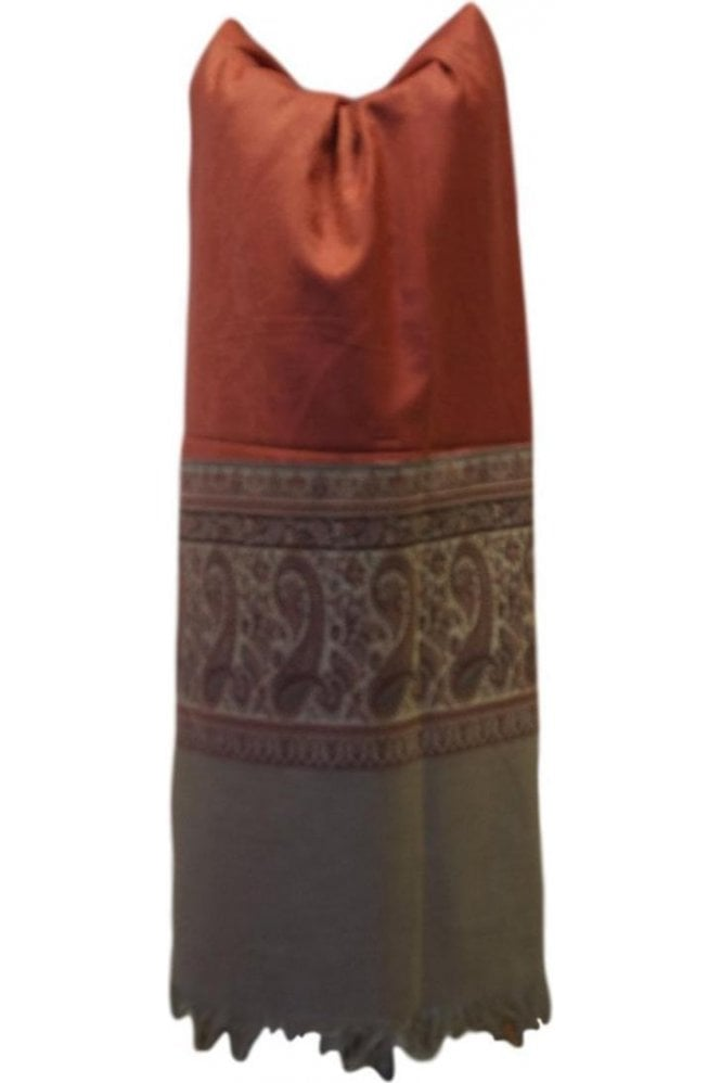 WSL19087 Red and Grey Ethnic Indian Shawl Stole Scarf with Pleasing Paisley Embroidery