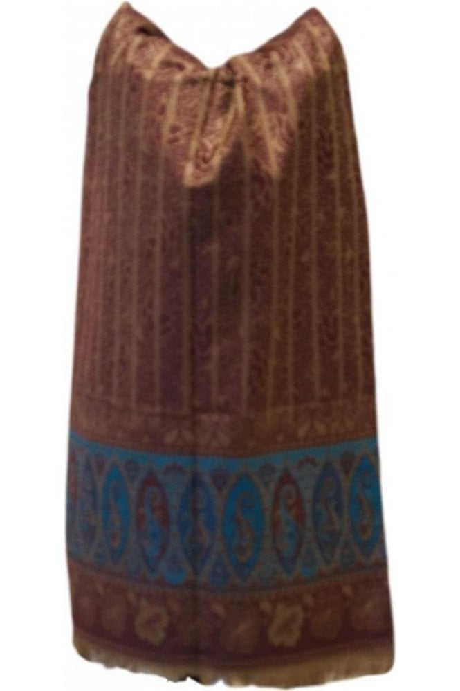 WSL19076 Maroon and Blue Ethnic Indian Shawl Stole Scarf with Beautiful Paisley Embroidery