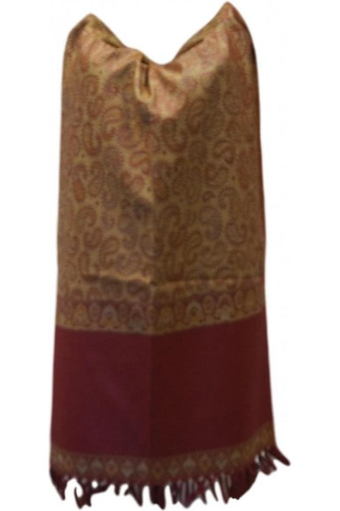 WSL19078 Red and Beige Ethnic Indian Shawl Stole Scarf with Pleasing Paisley Embroidery