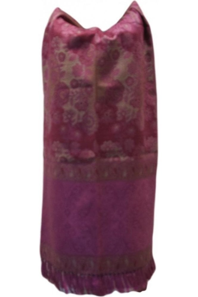 WSL19084 Pink and Beige Ethnic Indian Shawl Stole Scarf with Classy Paisley Embroidery