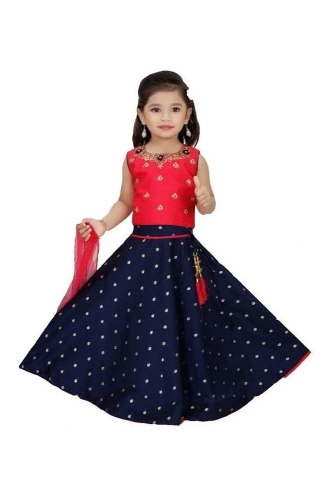 GLC19110 Red and Navy Blue Girl's Lengha Choli