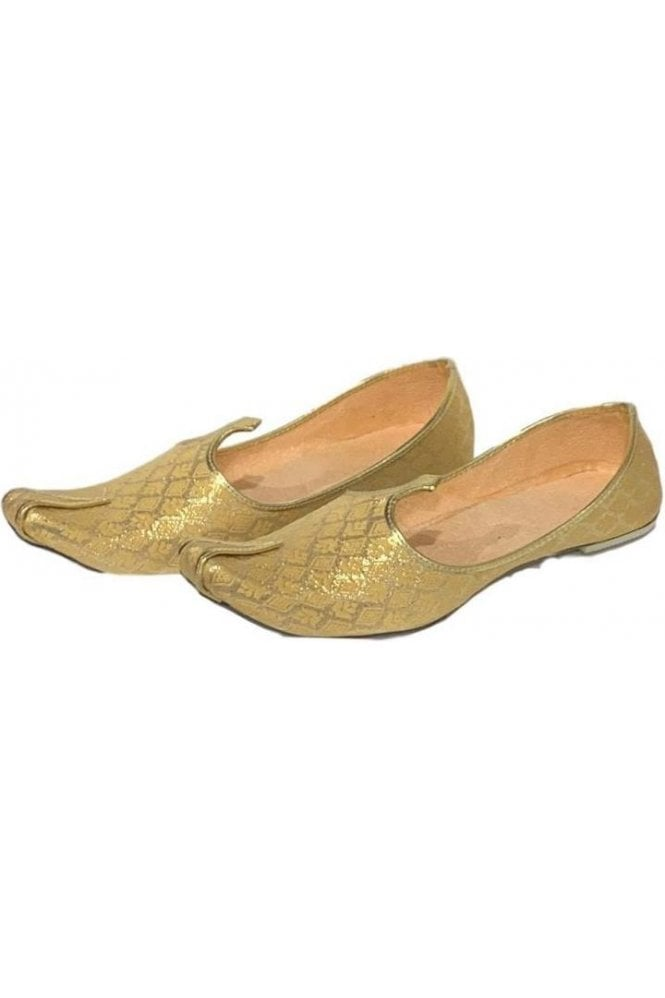 MJD19014 Gold and Beige Brocade Men's Mojari Mojadi Jutti Shoes
