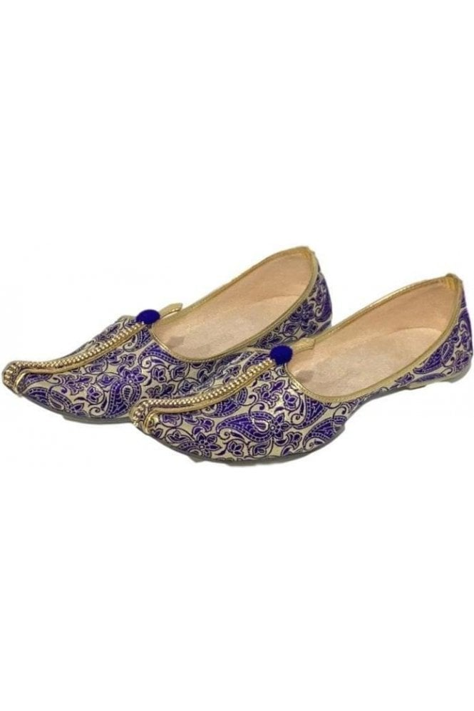 MJD19017 Blue and Gold Brocade Men's Mojari Mojadi Jutti Shoes