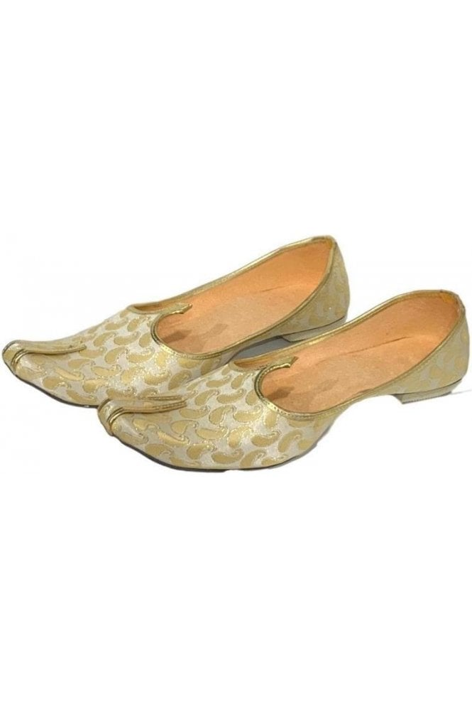 MJD19019 Cream  and Gold Brocade Men's Mojari Mojadi Jutti Shoes