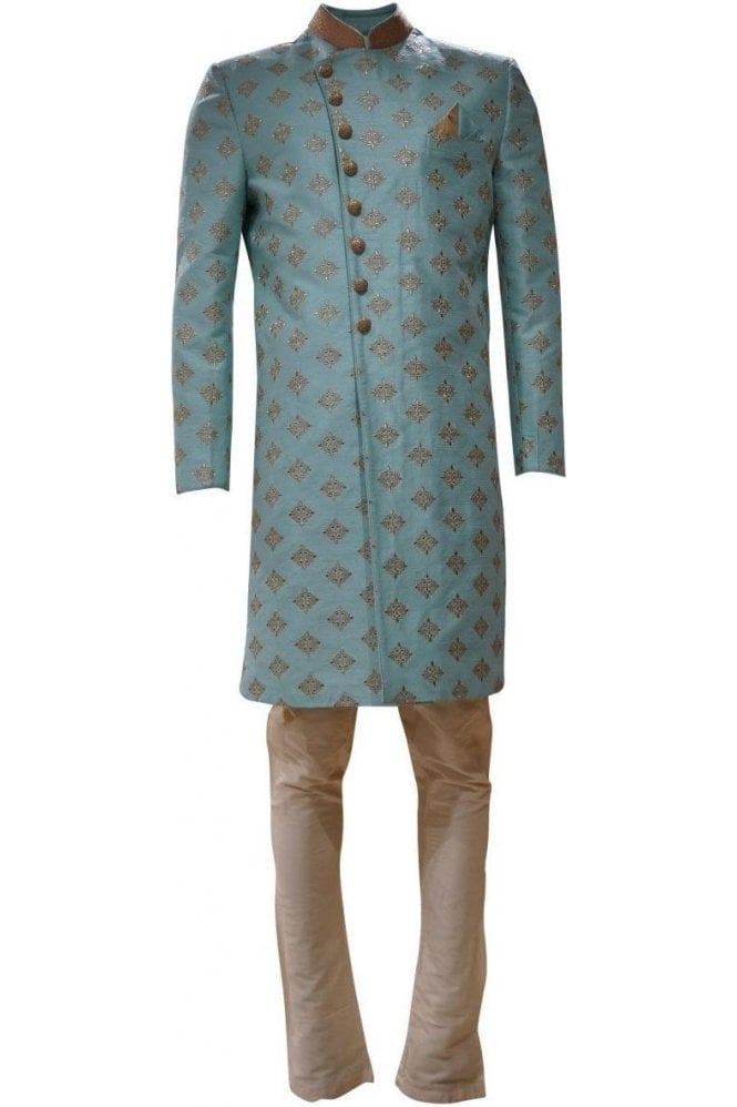MTS19010 Sea Green and Gold Men's Sherwani Suit