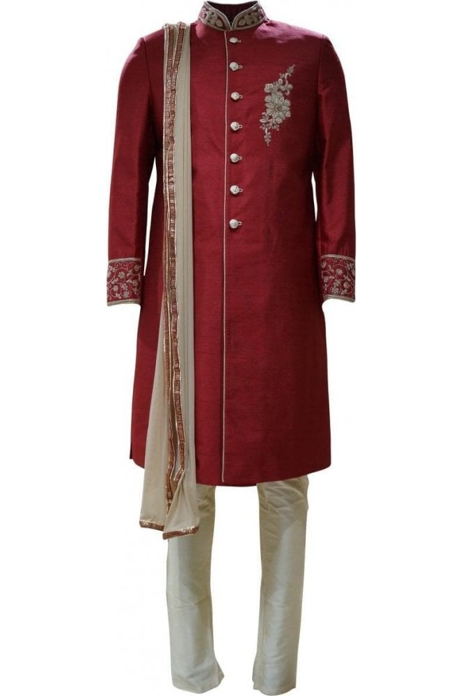 MTS19012 Maroon Red and Gold Men's Sherwani Suit with Gold and Red Embroidered Dupatta Scarf