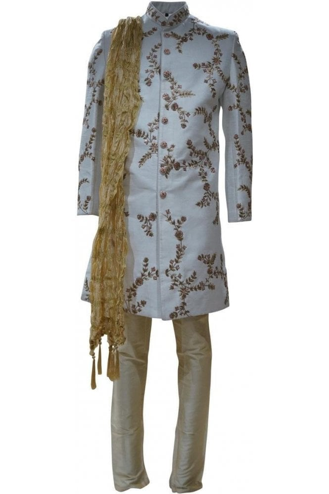 MTS19014 Ivory, Gold and Peach Men's Sherwani Suit with Gold Dupatta Scarf