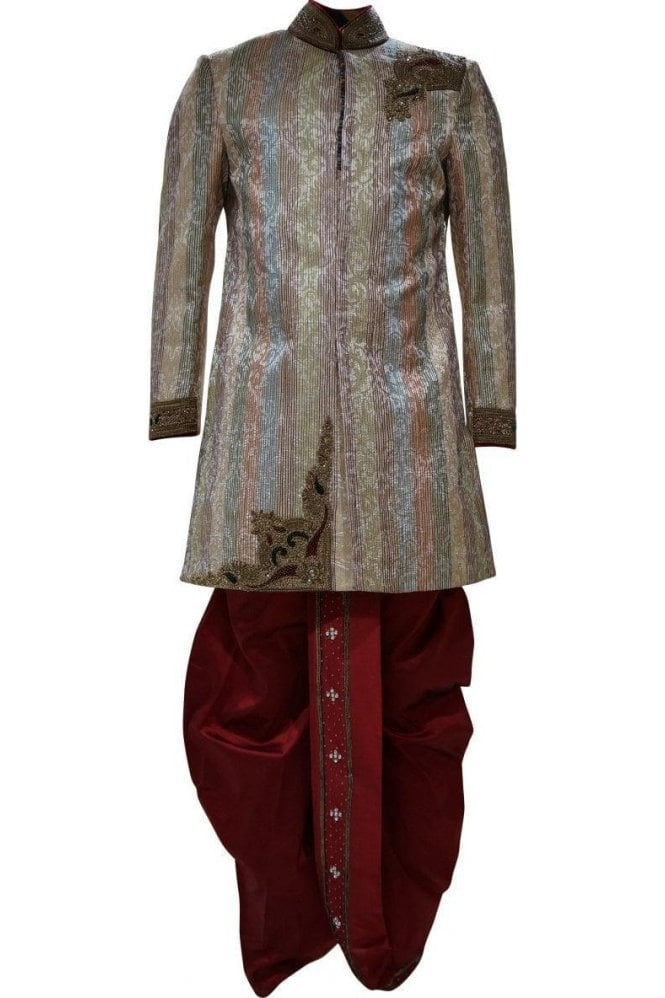 MTS19026 Gold, Maroon and Green Men's Sherwani Suit