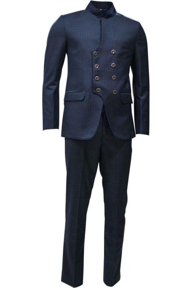 MJS19013 Navy Blue and Beige Men's Jodhpuri Suit