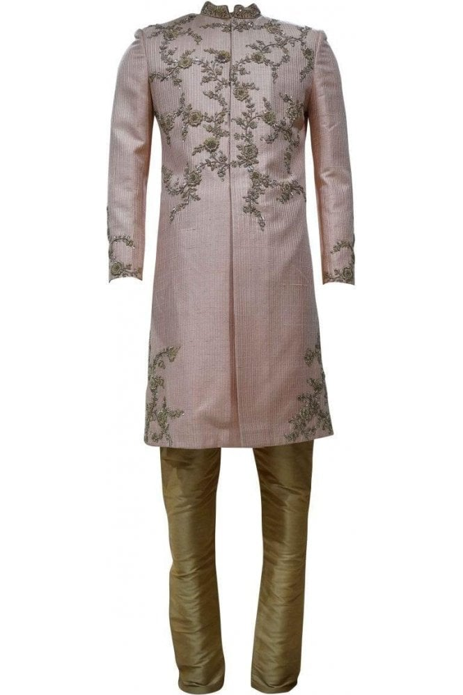 MTS19069 Peach and Gold Men's Sherwani Suit