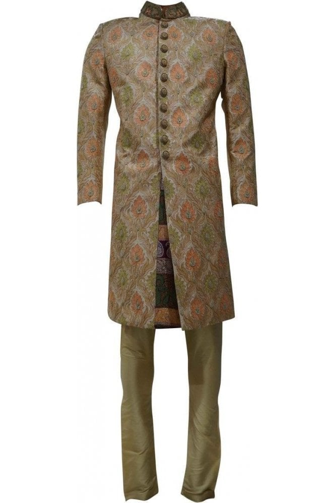 MTS19080 Gold and Peach Men's Sherwani Suit