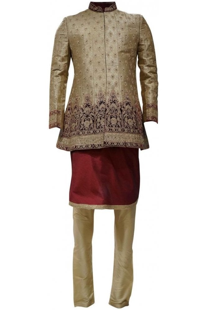 MTS19081 Gold and Maroon Men's Sherwani Suit