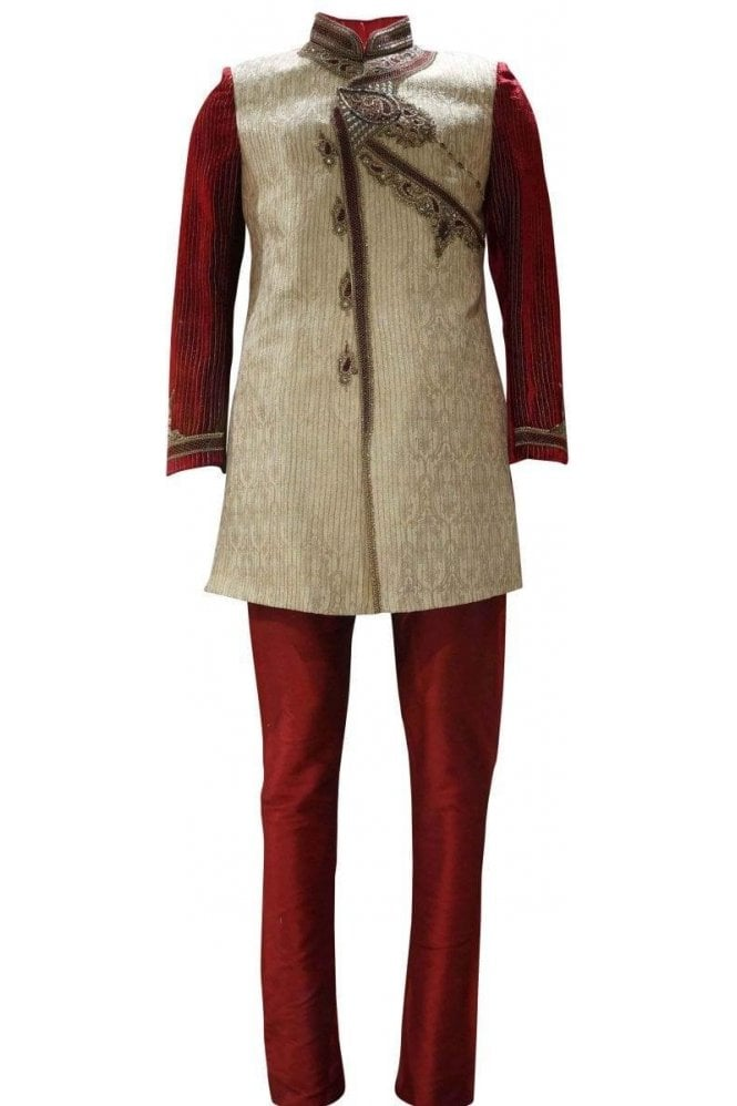 MTS19091 Gold and Red Men's Sherwani Suit