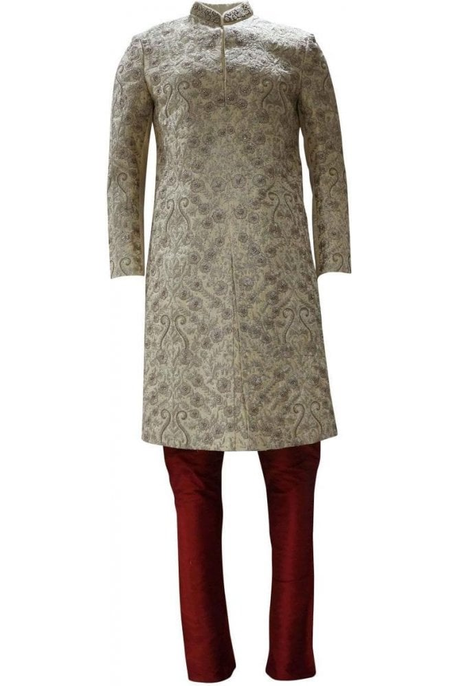 MTS19095 Gold and Red Men's Sherwani Suit