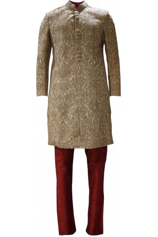 MTS19098 Gold and Red Men's Sherwani Suit