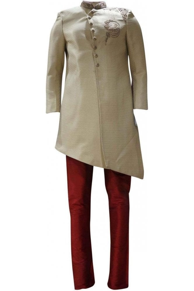 MTS19106 Gold, Cream and Red Men's Sherwani Suit