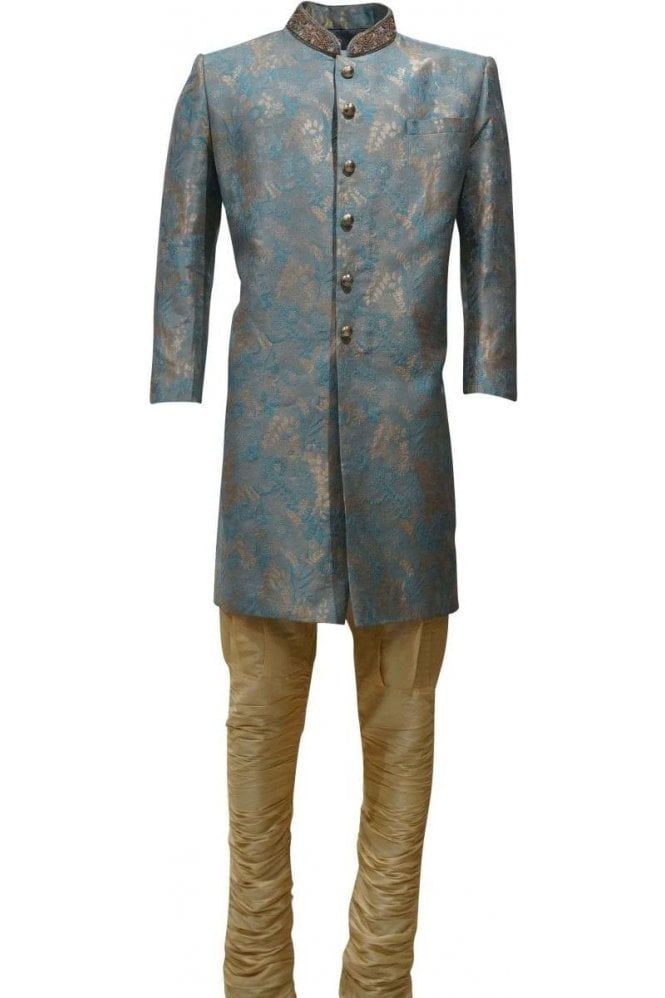 MTS19132 Blue and Gold Men's Sherwani Suit