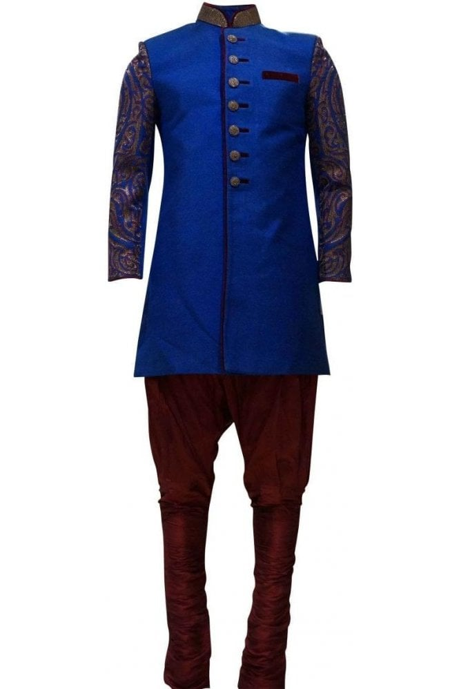 MTS19137 Blue and Gold Men's Sherwani Suit