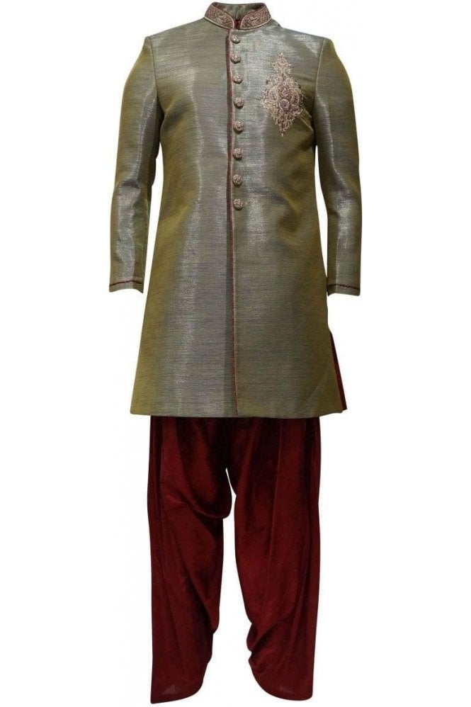 MTS19140 Green and Maroon Men's Sherwani Suit