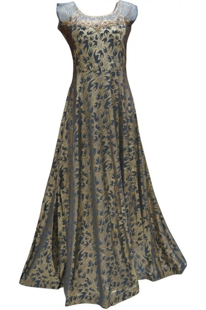 WPD19087 Grey and Gold Designer Churidar Suit Gown