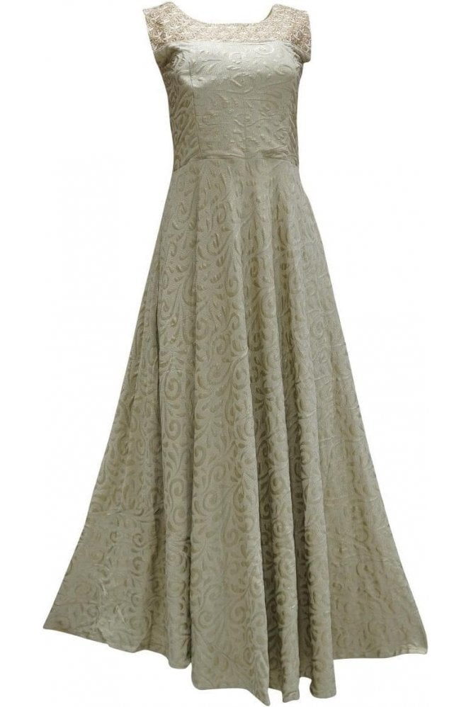 WPD19100 Olive Green and Coffee Brown Designer Churidar Suit Gown