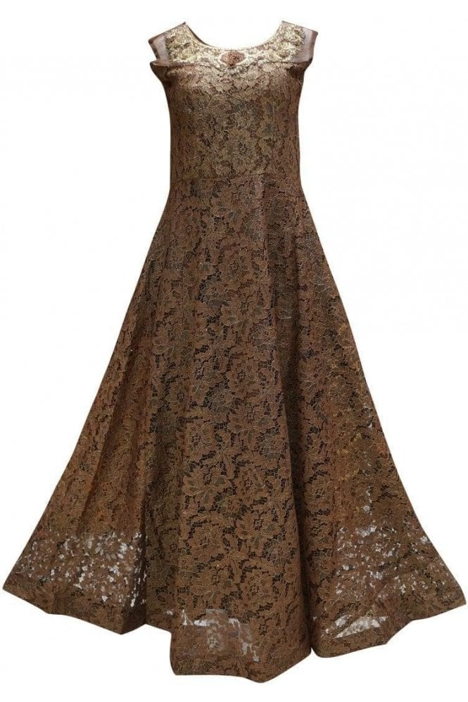 WPD19077 Brown and Gold Designer Churidar Suit Gown