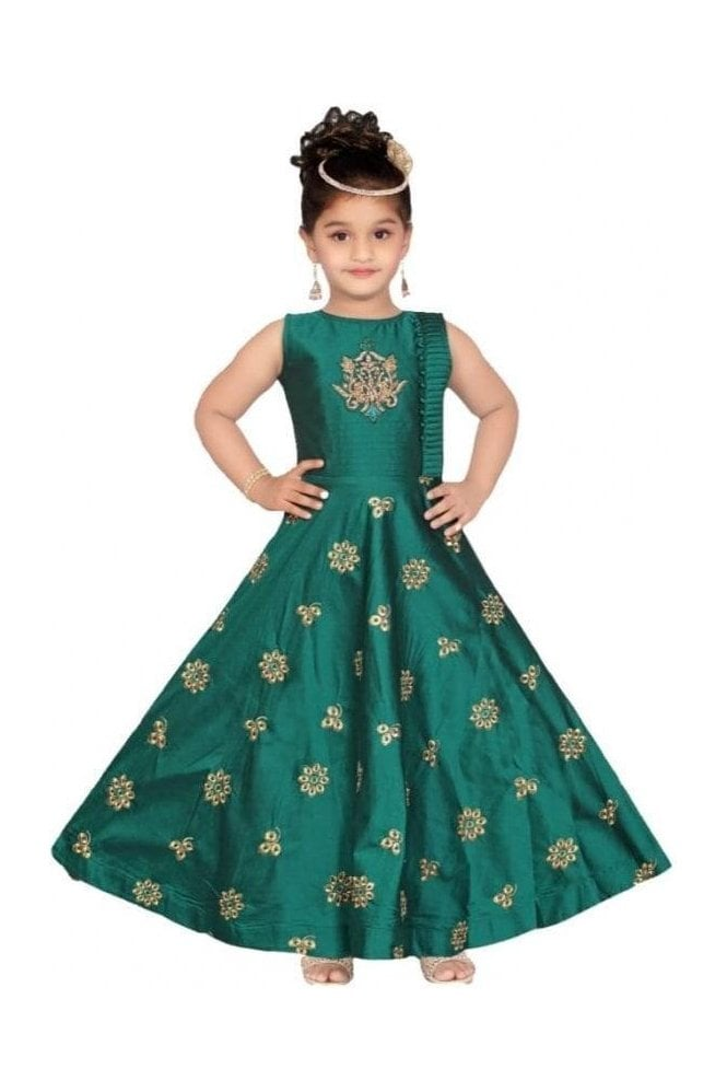 Jade Green and Gold Girl's Churidar Suit