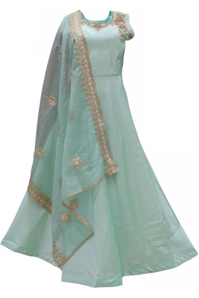 WPD19115 Sea Green and Gold Designer Churidar Suit Gown
