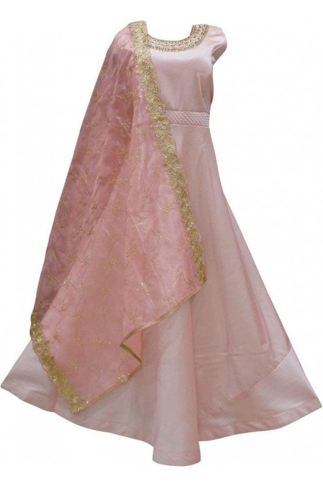 WPD19123 Pink and Gold Designer Churidar Suit Gown